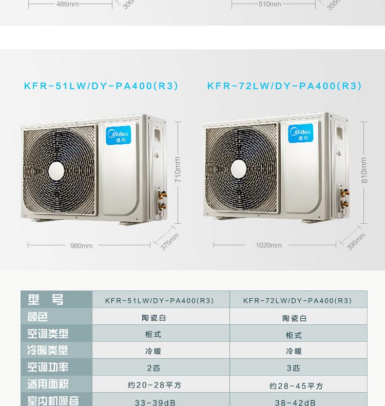 美的KFR-51LW/DY-PA400(D3)大2匹定速冷暖柜机立式空调外机尺寸及其参数