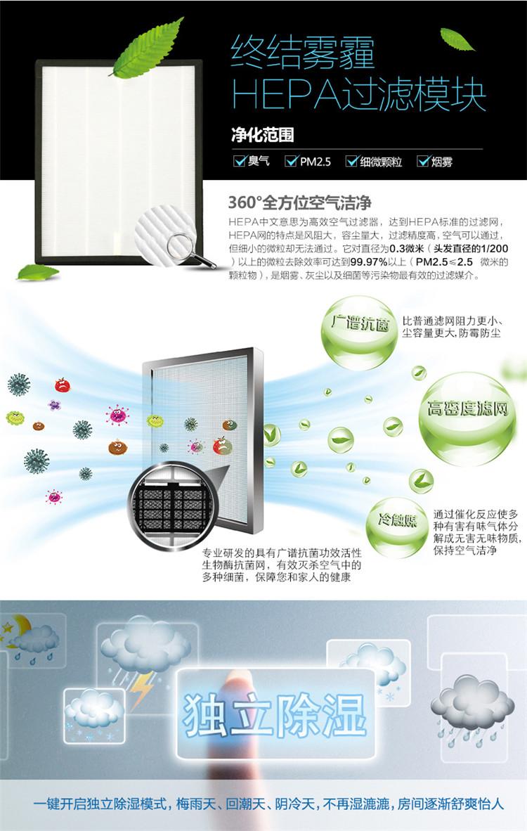 志高KFR-72LW/IBP89+N2A+Y2 3匹柜机冷暖变频智能云空调采用360度全方位空气清洁,采用HEPA过滤模块,过滤精度高,可有效防止雾霾。同时可以独立除湿,让房间的湿度适宜,为您营造更健康的生活环境